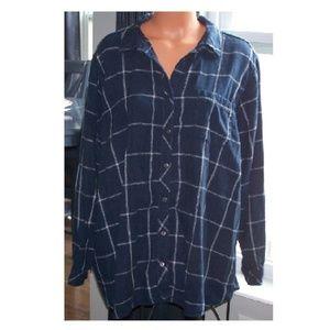 Sonoma Plaid Flannel Boyfriend Shirt 3X v776